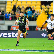 Vince Aso  runs during the Super Rugby union game between Hurricanes and Sunwolves, played at Westpac Stadium, Wellington, New Zealand on 27 April 2018.   Hurricanes won 43-15.