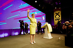 Nicola Sturgeon soaks up applause after her speech to the SNP spring conference. pic copyright Terry Murden @edinburghelitemedia