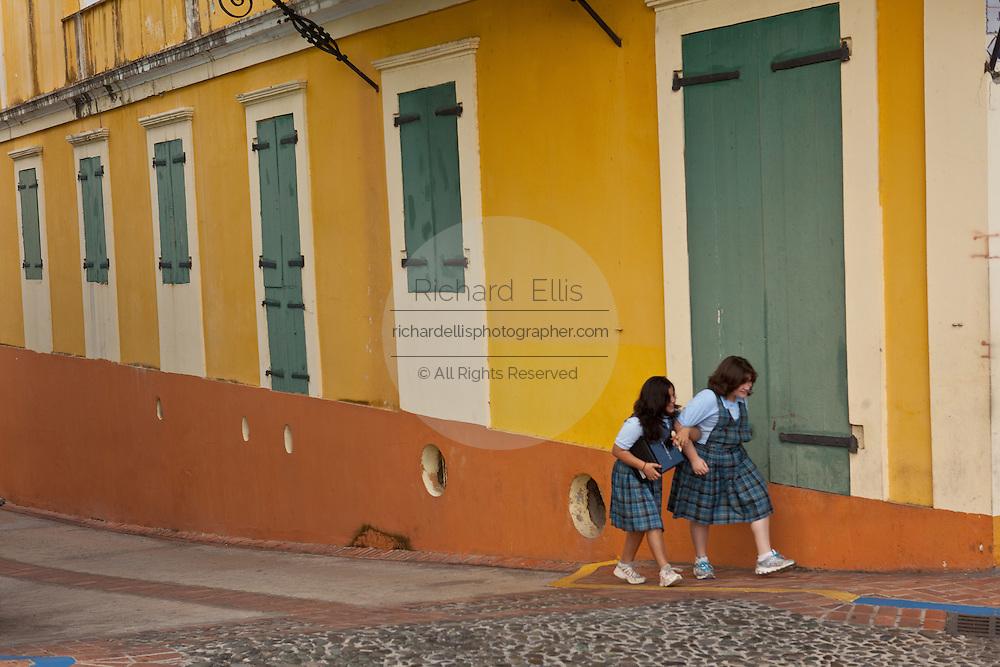 Restored colonial style building in San German Puerto Rico