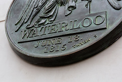 © Licensed to London News Pictures. 10/06/2015. London, UK. The new Waterloo plaque at the Battle of Waterloo memorial unveling at Waterloo station in London. Photo credit : Vickie Flores/LNP