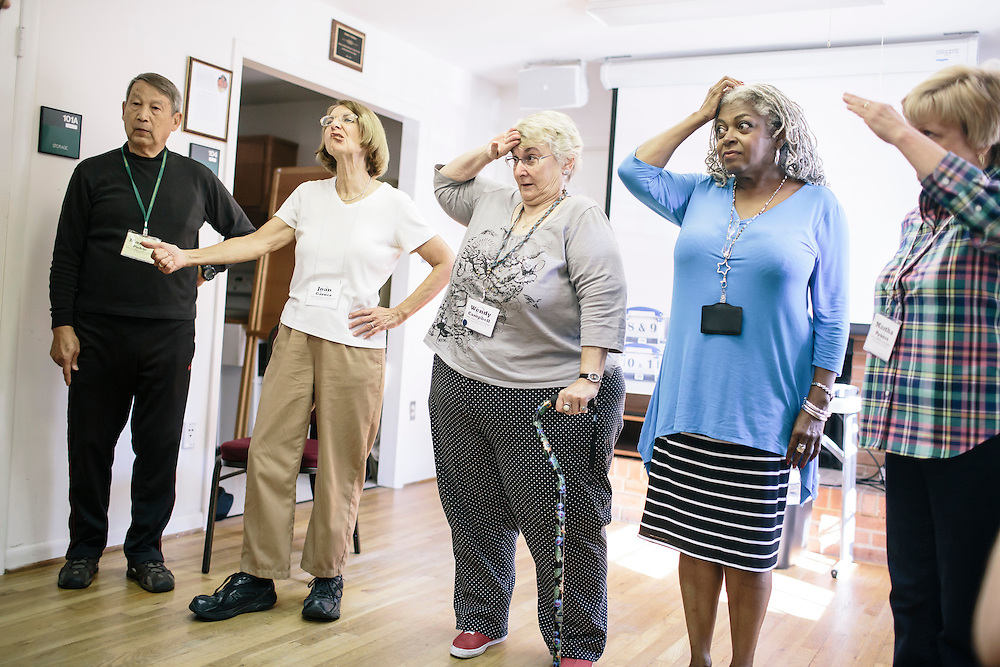 9/22/2014. FAIRFAX, VIRGINIA. Wendy Campbell improvs a scene with classmates during OLLI player workshop drama class at Osher Lifelong Learning Institute in Fairfax, Va. Campbell, a former teacher, has found a new passion for acting through these classes.