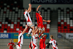 Bristol Rugby Lock Mark Sorenson jumps at a lineout - Mandatory byline: Rogan Thomson/JMP - 13/11/2015 - RUGBY UNION - Kingspan Stadium - Belfast, Northern Ireland - Ulster Ravens v Bristol Rugby - The British & Irish Cup Pool 2.