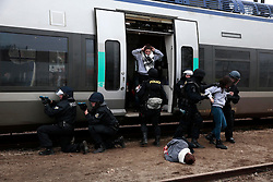 30.03.2016, Bahnhof, Sens, FRA, UEFA Euro, Sicherheitsübung, im Bild Polizisten aus verschiedenen Europäischen Staaten bei einer Zug Sicherheitsübung für die kommende Fussball Europameisterschaft in Frankreich // Policemen from different European countries at a train security exercise for the upcoming UEFA European Football Championship at Bahnhof in Sens, France on 2016/03/30. EXPA Pictures © 2016, PhotoCredit: EXPA/ Pressesports/ BOUE SEBASTIEN<br /> <br /> *****ATTENTION - for AUT, SLO, CRO, SRB, BIH, MAZ, POL only*****
