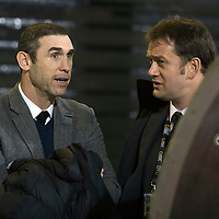 Partick Thistle v St Johnstone…01.02.17     SPFL    Firhill<br />Martin Keown talks with Partick Thistle General Manager Ian Maxwell before kick off…Keown was in the stands to watch his son Niall make is home debut.<br />Picture by Graeme Hart.<br />Copyright Perthshire Picture Agency<br />Tel: 01738 623350  Mobile: 07990 594431