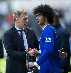 SWANSEA, WALES - Saturday, September 22, 2012: Everton's manager David Moyes and Marouane Fellaini during the Premiership match against Swansea City at the Liberty Stadium. (Pic by David Rawcliffe/Propaganda)
