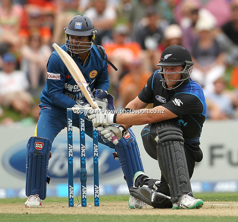 Corey Anderson of the Black Caps batting with Kumar Sangakkara of Sri Lanka wicket keeping during the first ODI cricket game between the Black Caps v Sri Lanka at Hagley Oval, Christchurch. 11 January 2015 Photo: Joseph Johnson / www.photosport.co.nz
