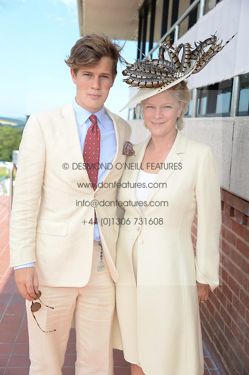 The COUNTESS OF MARCH and her son LORD SETTRINGTON at the 3rd day of the 2013 Glorious Goodwood racing festival - Ladies day at Goodwood Racecourse, West Sussex on 1st August 2013.