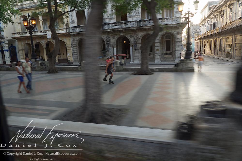 Roller blading on the Prado, Havana, Cuba.