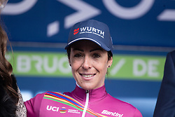 Marta Bastianelli (ITA) of Team Virtu Cycling celebrates retaining the UCI Women's World Tour overall leader's jersey after the AG Driedaagse Brugge-De Panne - a 134,4 km road race, between Brugge and De Panne on April 21, 2018, in West Flanders, Belgium. (Photo by Balint Hamvas/Velofocus.com)