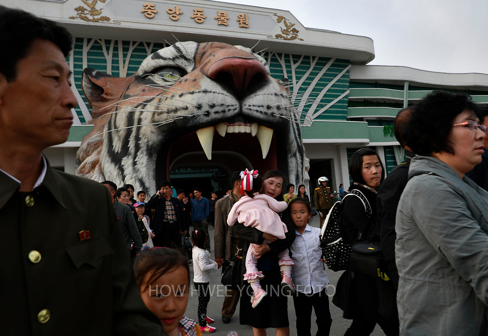 A picture made available on 17 April 2017 of North Koreans visiting  the Central Zoo in Pyongyang, North Korea, 16 April 2017. A North Korean missile exploded within seconds of its launch on the east coast on 16 April, South Korean and US officials say as tensions rise in the region over nuclear issues.