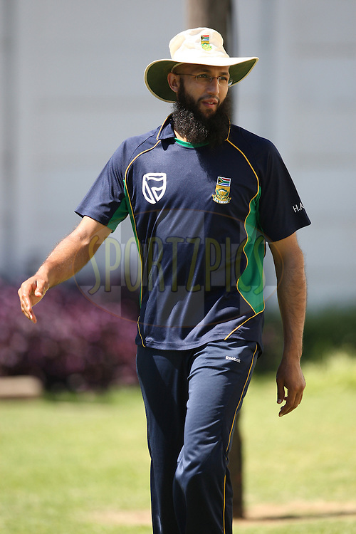 Hashim Amla during the South Africa and India team practice sessions held at Moses Mabhida Stadium and Nets sessions at Kingsmead Stadium in Durban on the 8th January 2011 ( The Pro twenty match between South Africa and India is due to be held at the Moses Mabhida Stadium on the 9th January 2011 )..Photo by Steve Haag/BCCI/SPORTZPICS