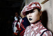 LONDON, ENGLAND - JANUARY 08: Models backstage ahead of the Sibling during London Fashion Week Men's January 2017 collections at BFC Show Space on January 8, 2017 in London, England. (Photo by Ki Price/Getty Images)