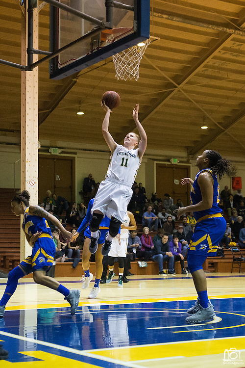 San Francisco Lady Dons guard Rachel Howard (11) lays the ball up against the San Jose State Spartans at Kezar Pavilion in San Francisco, Calif., on December 6, 2016. (Stan Olszewski/Special to S.F. Examiner)