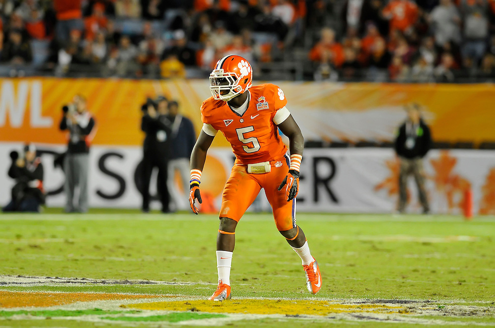 January 4, 2012: Jonathan Meeks #5 of Clemson in action during the NCAA football game between the West Virginia Mountaineers and the Clemson Tigers at the 2012 Discover Orange Bowl at Sun Life Stadium in Miami Gardens, Florida.