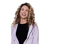 caucasian woman laughing happy portrait isolated studio on white background