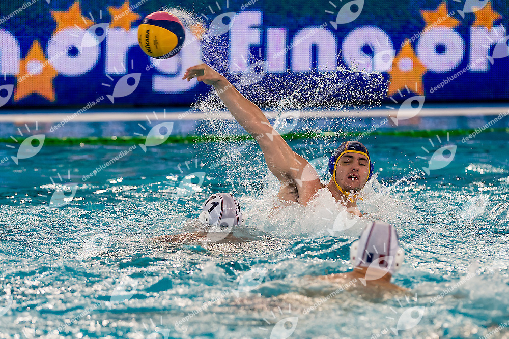 FRA ESP <br /> FINA Men's Water polo Olympic Games Qualifications Tournament 2016<br /> Final 3rd place<br /> France FRA (White) Vs Spain ESP (Blue)<br /> Trieste, Italy - Swimming Pool Bruno Bianchi<br /> Day 08  10-04-2016<br /> Photo L.Binda/Insidefoto/Deepbluemedia