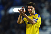 Will Nightingale (5) of AFC Wimbledon applauds the travelling fans at full time after a 2-1 loss to Portsmouth during the EFL Sky Bet League 1 match between Portsmouth and AFC Wimbledon at Fratton Park, Portsmouth, England on 1 January 2019.