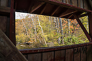 A bridge window overlooks fall foliage colors on Mill Creek. The 148-foot wooden Cataract Falls Covered Bridge was built in 1876 at the Upper Falls of Mill Creek (formerly known as Eel River) and was open to automobile traffic until 1988. The bridge now serves pedestrians and was extensively repaired starting in 2000. It is the only remaining covered bridge in Owen County. Cataract Falls State Recreation Area is an hour southwest of Indianapolis, near Cloverdale, Indiana, USA. The bridge was designed with a Smith's High Double Wood Truss (Smith Type 4), prefabricated in Toledo, Ohio and shipped disassembled for reassembly. Nice autumn foliage colors glowed for this photo in mid October 2015.