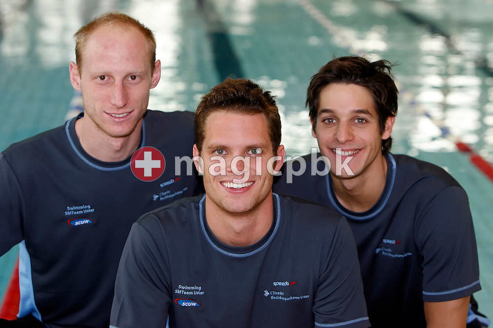 (L-R) Switzerland's Olympic starter Karel NOVY, Dominik MEICHTRY and Flori LANG of the Schwimmclub Uster Wallisellen poses for a portrait photo at the Swiss Swimming Championships in Geneva, Switzerland, Sunday, April 6, 2008. (Photo by Patrick B. Kraemer / MAGICPBK)