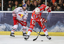 04.04.2014, Eisarena, Salzburg, AUT, EBEL, EC Red Bull Salzburg vs HCB Suedtirol, Finale, best of five, 1. Spiel, im Bild Andreas Kristler, (EC Red Bull Salzburg, #40) und Markus Gander, (HCB Suedtirol, #23) // during the 1st match of the final best of five round of the the Erste Bank Icehockey League Playoff between EC Red Bull Salzburg and HCB Suedtirol at the Eisarena in Salzburg, Austria on 2014/04/04. EXPA Pictures © 2014, PhotoCredit: EXPA/ Roland Hackl