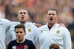 Mike Brown and Dylan Hartley of England sing the national anthem prior to the match - Mandatory byline: Patrick Khachfe/JMP - 07966 386802 - 26/11/2016 - RUGBY UNION - Twickenham Stadium - London, England - England v Argentina - Old Mutual Wealth Series.