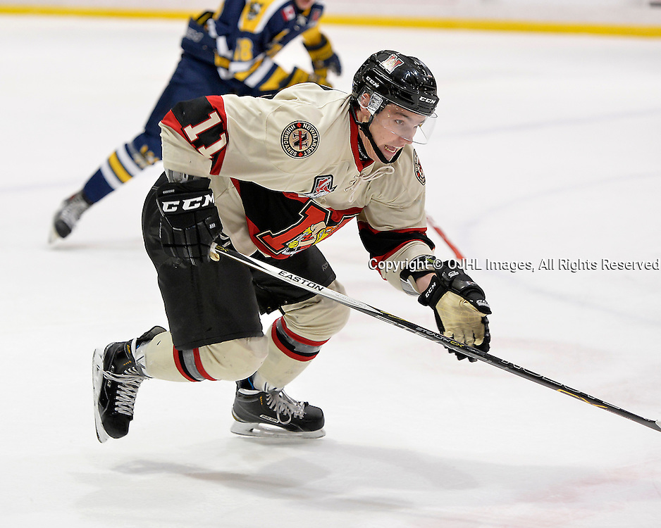 WHITBY, ON - Oct 9, 2015 : Ontario Junior Hockey League game action between Newmarket and Whitby, Dallas Baird #11 of the Newmarket Hurricanes chases the puck during the first period.<br /> (Photo by Shawn Muir / OJHL Images)