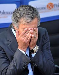 Inter Milan coach Jose Mourinho covers his eyes. Inter Milan v Parma, San Siro, Milan, 12th September 2009.