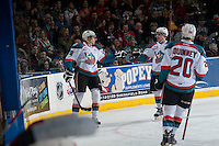 KELOWNA, CANADA - FEBRUARY 14: Leon Draisaitl #29 and Tyson Baillie #24 of Kelowna Rockets celebrate a goal against the Moose Jaw Warriors on February 14, 2015 at Prospera Place in Kelowna, British Columbia, Canada.  (Photo by Marissa Baecker/Shoot the Breeze)  *** Local Caption *** Leon Draisaitl; Tyson Baillie;