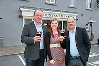 Former Irish Rugby International Mick Galwey, Jemma Millar Guinness mid-Strength Manager  and Guinness Master Brewer Fergal Murray at The Huntsman in  Galway who hosted  the GUINNESS Mid-Strength Taste Test Tour which featured a special Q&A on rugby and a Pour Your Pint Competition. .Full details are available on www.Facebook.com/Guinnessireland GUINNESS Mid-Strength has the unmistakable distinctive taste and is brewed in exactly the same way as GUINNESS, just with less alcohol at 2.8%...The GUINNESS word and associated logos are trademarks...Enjoy Guinness Sensibly...Visit www.drinkaware.ie..