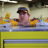 Racecar driver Kyle Busch is seen in his garage area during the  56th Annual NASCAR Daytona 500 practice session at Daytona International Speedway on Wednesday, February 19, 2014 in Daytona Beach, Florida.  (AP Photo/Alex Menendez)