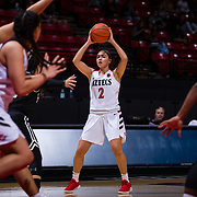 09 November 2018: San Diego State Aztecs guard Sophia Ramos (2) looks to pass the ball during an offensive possession in the third quarter. The Aztecs opened up it's regular season schedule with a 58-57 win over Hawaii Friday at Viejas Arena.