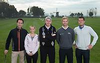 NOORDWIJK - Golfpro's Jurrian van der Vaart , Floris Vos, Tom O'Mahoney, Richard Kind, Liesbeth Pauwels, de golf fitness specialiste van de BeNeLux.  Golfcentrum Noordwijk. COPYRIGHT KOEN SUYK