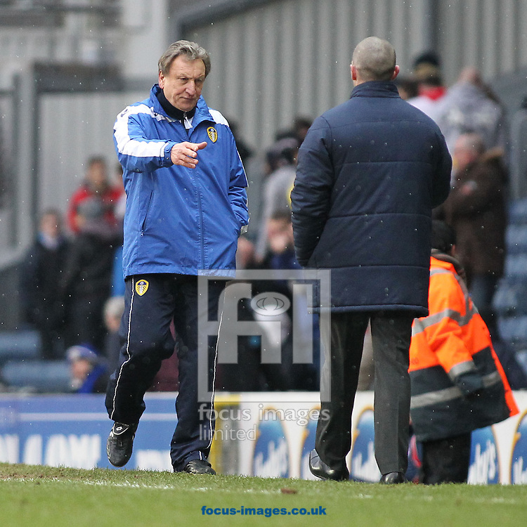 Picture by Michael Sedgwick/Focus Images Ltd +44 7900 363072.23/02/2013.Neil Warnock, manager of Leeds United shakes the hand of Blackburn Rovers manager Michael Appleton after the npower Championship match against Blackburn Rovers at Ewood Park, Blackburn.