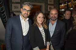 Left to right, PAUL CROUGHTON, NADIA BALAME and JAMES COLLARD from The Robb Report  at a cocktail reception hosted by the Woolmark Company, Pierre Lagrange and the Savile Row Bespoke Association to celebrate 'The Ambassador's Project' for London Collections Mens at Marks Club, Charles street, London on 8th January 2016.