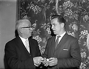 08/05/1961<br /> 05/08/1961<br /> 08 May 1961<br /> Footballer Dan McCaffrey (Drumcondra) receives the Soccer Writers Association of Ireland Personality of the Year 1961 award, presented with a watch at the Maples Hotel, Dublin.