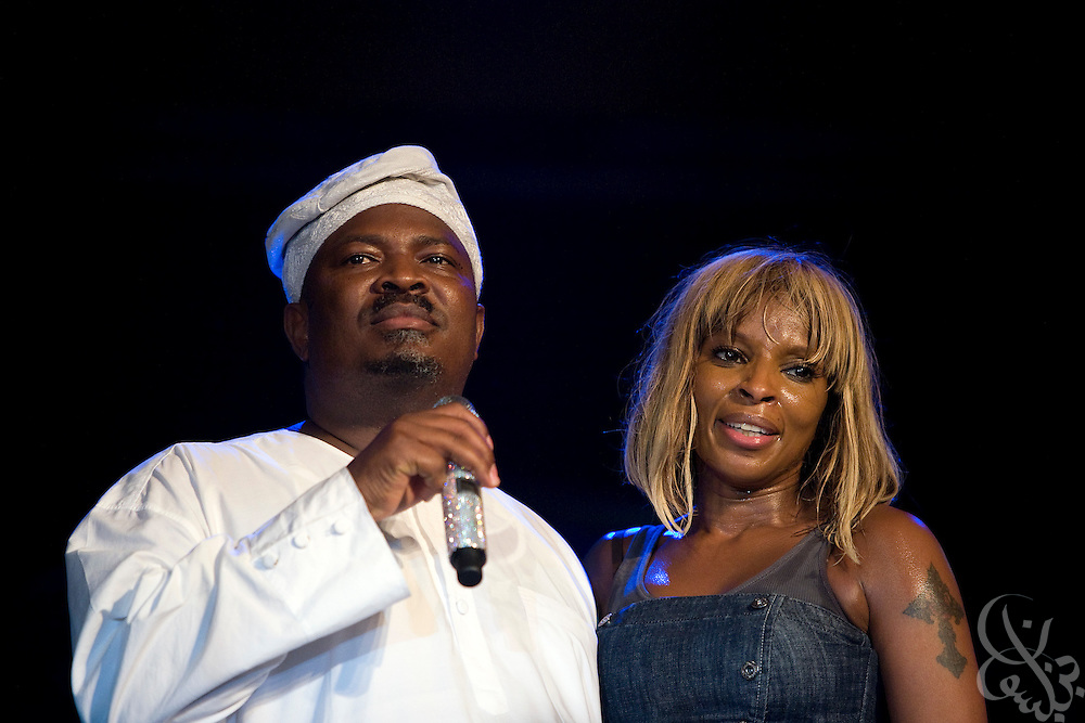 ThisDay newspaper Editor-in-Chief, and Nigerian media mogul Nduka Obaigbena addresses the crowd  with hip hop soul legend Mary J Blige during the July 13, 2008 leg of the ThisDay festival in Lagos, Nigeria. Obaigbena founded the festival three years ago as an an annual effort to raise awareness of African issues while promoting positive images of Africa using music, fashion and culture in a series of concerts and events in Nigeria, the United States and the United Kingdom. .