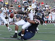 Samford  defensive lineman Jerry Mathis (92) sacks Appalachian State quarterback Jamal Jackson (12) in the second half at Seibert Stadium in Homewood, Ala., Saturday, Oct 13, 2012. (Marvin Gentry)