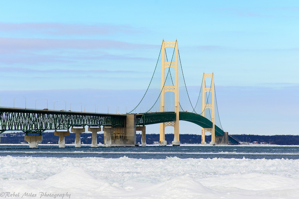 Mackinac Bridge In Winter