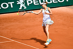 PARIS, May 30, 2017  Yaroslava Shvedova of Kazakhstan returns the ball to Elina Svitolina of Ukraine during the women's singles 1st round match at the French Open Tennis Tournament 2017 in Paris, France on May 30, 2017. (Credit Image: © Chen Yichen/Xinhua via ZUMA Wire)