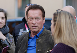 23.03.2017, Sporthotel Royer, Schladming, AUT, Special Olympics 2017, Wintergames, Arnold Schwarzenegger besucht die Spiele, im Bild Arnold Schwarzenegger und Medienvertreter // during the Special Olympics World Winter Games Austria 2017 in Schladming, Austria on 2017/03/23. EXPA Pictures © 2017, PhotoCredit: EXPA / Martin Huber