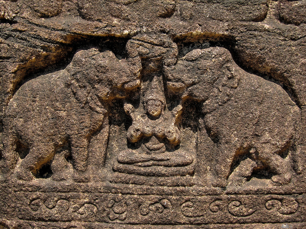 Detail in the carvings in the temples of Polunnaruwa, an enormous complex of ruined temples in Sri Lanka's Cultural Triangle