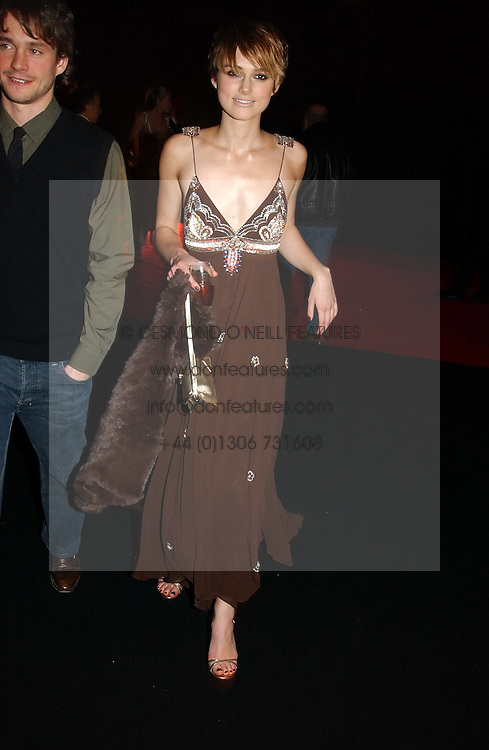 KIERA KNIGHTLEY at the Moet &amp; Chandon Fashion Tribute 2005 to Matthew Williamson, held at Old Billingsgate, City of London on 16th February 2005.<br /><br />NON EXCLUSIVE - WORLD RIGHTS