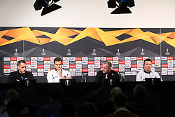11.03.2020, TGW Arena, Pasching, AUT, UEFA EL, LASK vs Manchester United, Achtelfinale, Hinspiel, Pressekonferenz, im Bild v.l. Christian Ramsebner (LASK), Trainer Valerien Ismael (LASK), Präsident Siegmund Gruber (LASK), Pressesprecher Peter Öfferlbauer (LASK) // during a press converence before the UEFA Europa League round of last 16 match between LASK and Manchester United at the TGW Arena in Pasching, Austria on 2020/03/11. EXPA Pictures © 2020, PhotoCredit: EXPA/ Reinhard Eisenbauer