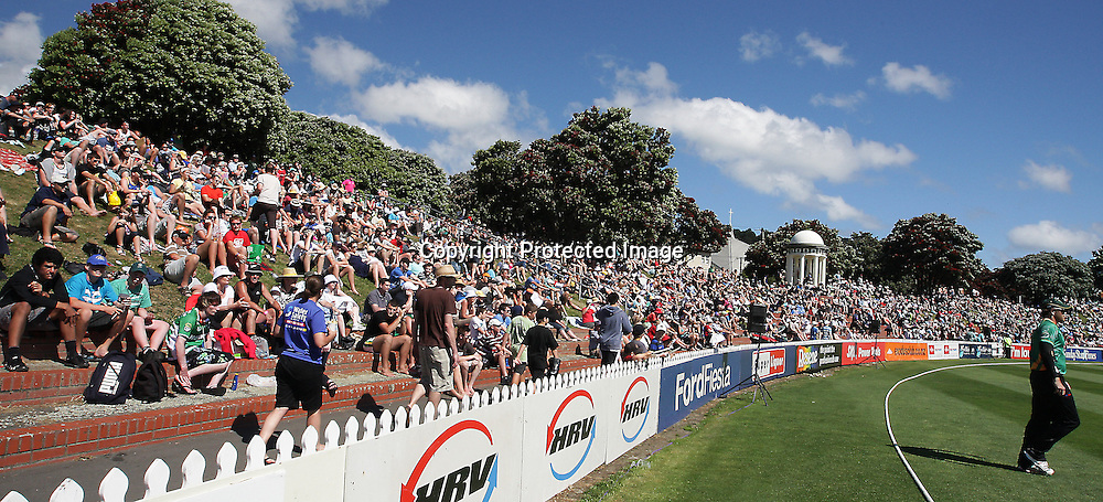 Basin Reserve Bank Crowd during their Twenty20 Cricket match - HRV Cup, Wellington Firebirds v Central Stags, 27 December 2011, Hawkins Basin Reserve, Wellington. . PHOTO: Grant Down / photosport.co.nz
