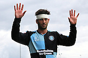 Wycombe Wanderers player Joe Jacobson sports a bandaged head during the Sky Bet League 2 match between Barnet and Wycombe Wanderers at The Hive Stadium, London, England on 15 August 2015. Photo by Bennett Dean.