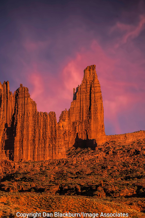 Late Evening Sunset on Fisher Towers Southeastern Utah