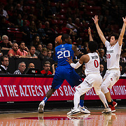 03 February 2018: The San Diego State Aztecs look to rebound after a couple losses against Air Force Saturday night. San Diego State Aztecs guard Jordan Schakel (20) and guard Devin Watson (0) with full court pressure on Air Force Falcons guard Trevor Lyons (20) in the second half. The Aztecs beat the Falcons 81-50 at Viejas Arena.<br /> More game action at www.sdsuaztecphotos.com