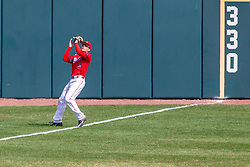 NORMAL, IL - April 08: Gunner Peterson pulls in a high fly ball at the foul line during a college baseball game between the ISU Redbirds  and the Missouri State Bears on April 08 2019 at Duffy Bass Field in Normal, IL. (Photo by Alan Look)