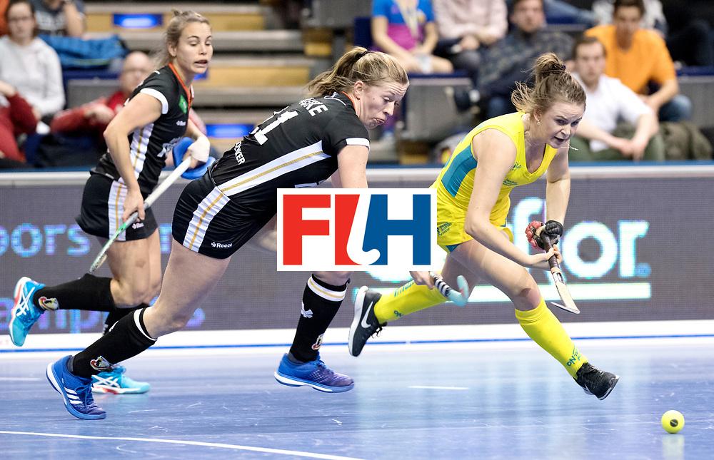 BERLIN - Indoor Hockey World Cup<br /> Women: Germany  - Australia<br /> foto: Franzisca Hauke and MURPHY Madeleine.<br /> WORLDSPORTPICS COPYRIGHT FRANK UIJLENBROEK