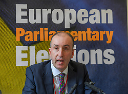 Pictured: Regional Returning Officer Ken Lawrie announces the results.<br /> <br /> Scotland's results in the European elections were announced at the City Chambers in Edinburgh.<br /> <br /> © Dave Johnston / EEm